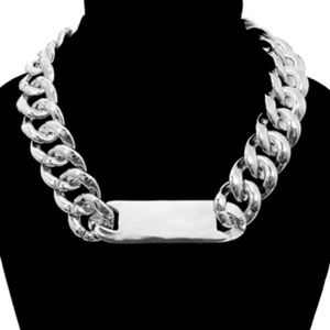 Jewelry - Women Nice Chunky Rhodium ID Chain Necklace Silver